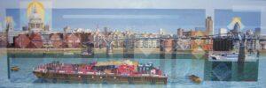Les Matthews Millennium Bridge panoramic art for sale