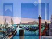 Les Matthews Gondolas at Sunset Venice modern art for sale