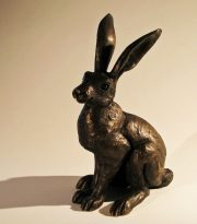 Suzie Marsh Small Alert Hare bronze resin sculpture for sale