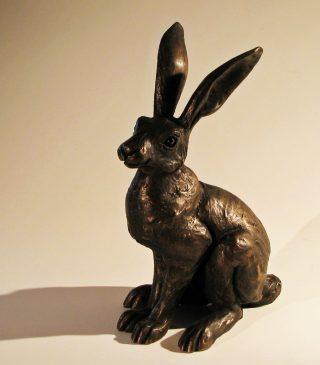 Suzie Marsh Small Alert Hare bronze resin sculpture for sale