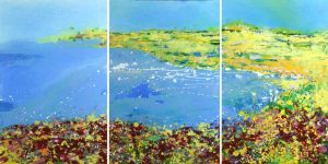 Sharon Withers Bay View Triptych coastal seascape for sale