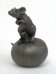 Suzie Marsh Tom on Pumpkin bronze mouse sculpture for sale