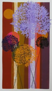 Tessa Pearson Long Ginger Allium colourful art print for sale