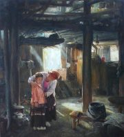 Shen Ming Cun Mother and Child Miao Tribe domestic painting for sale