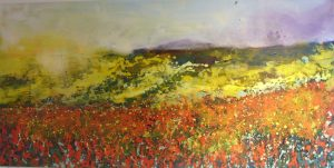 Sharon Withers Crimson and Gold abstract meadow art for sale