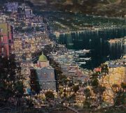 Mario Sanzone Positano By Night italian city painting