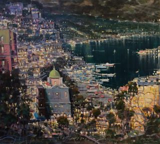 Mario Sanzone Positano By Night italian city painting