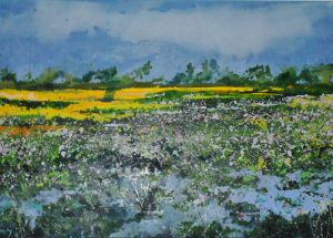 Helen Brady Waterlilies Cambodia abstract landscape for sale