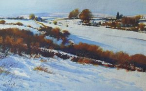 Richard Thorn On The High Moor snowscape painting for sale