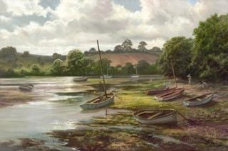 David Dipnall Waiting for the tide Kingsbridge devon landscape art for sale