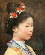 Shen Ming Cun Flowers In Her Hair oil painting portrait for sale