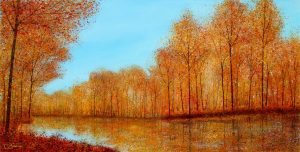 Chris Bourne Autumn Reflections river landscape art for sale