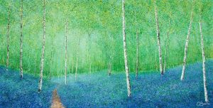 Chris Bourne Bluebell Time original art spring painting for sale