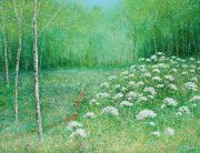 Chris Bourne The Clearing green meadow painting for sale