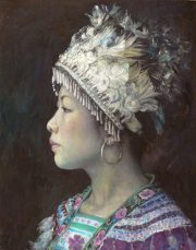 Shen Ming Cun Regal Repose Miao Tribe ornate portrait painting for sale