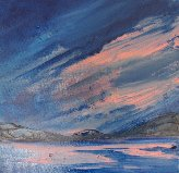 Frances Jordan Last Rays blue abstract sunset landscape painting for sale