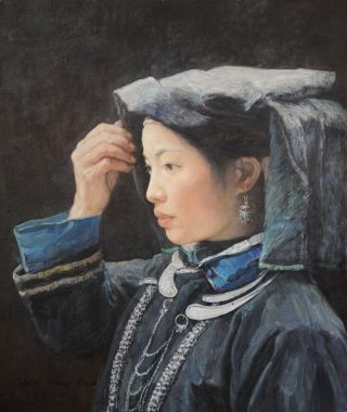 Shen Ming Cun Composure, Zhuang Tribe oil painting for sale
