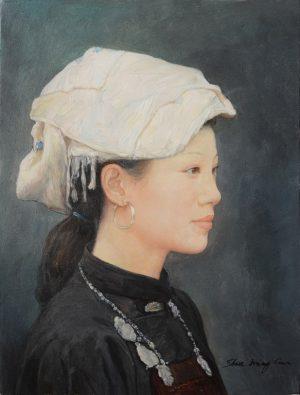 Shen Ming Cun Elegance, Zhuang Tribe oil portrait for sale