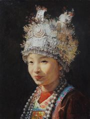Shen Ming Cun Festival Finery chinese portrait artwork for sale