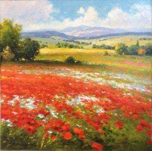 Gerhard Nesvadba Poppy Fields landscape painting for sale