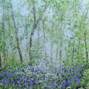 Helen Brady Bluebell Woods Hampshire abstract painting for sale