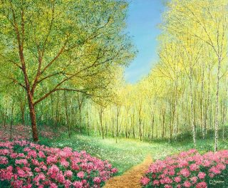 Chris Bourne Follow The Pink original meadow painting for sale