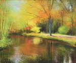 John Connolly River of Gold autumn river painting for sale