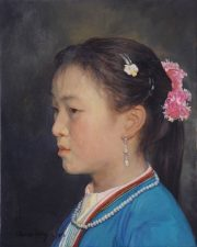 Shen Ming Cun String Of Pearls traditional portrait art for sale