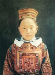 Shen Ming Cun Tapestery Costume Miao Tribe fine portrait painting for sale