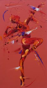 Penny Warden Dare dynamic red dancer painting for sale