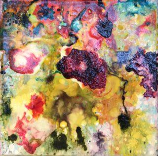 Liz Spooner Flower Box I floral abstract art object for sale