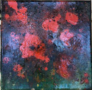 Liz Spooner Flower Box III dark floral original painting