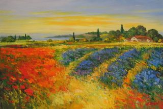 Madjid Tuscany Lavender italian landscape painting for sale