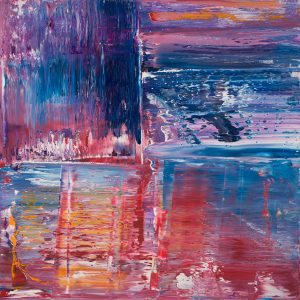 Allan Storer Dawning abstract purple blue painting for sale