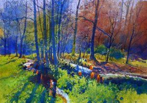 Richard Thorn Slumber Wood autumn woods painting for sale