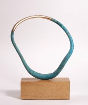 Philip Hearsey Acanto I abstract bronze teal sculpture for sale