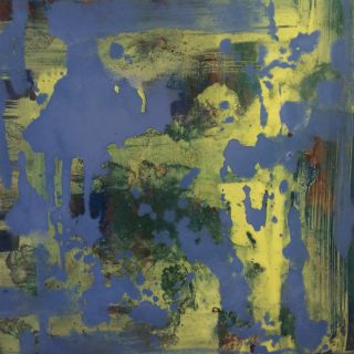 Sharon Withers Abstract II yellow blue abstract painting for sale