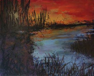 Sharon Withers 'On Reflection' sunset pond painting for sale
