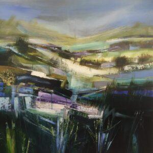Celia Wilkinson Precipitation modern blue landscape art for sale