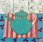 Emma Forrester Teapot and Seedheads colourful art for sale
