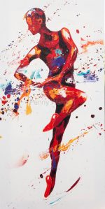 Penny Warden Allegro red abstract dancer painting for sale