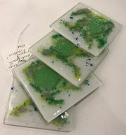 Kaby Bitten Coasters 2 four hand-crafted glass coaster set for sale