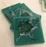 Kaby Bitten Coaster 3 handmade teal glass coasters for sale