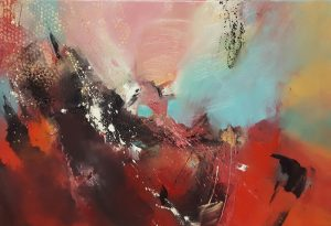 Andrew Kinmont Scoria bold red abstract painting for sale
