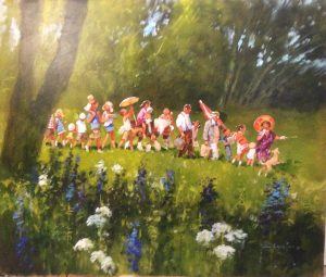 John Haskins The Day of Our Picnic summer painting for sale