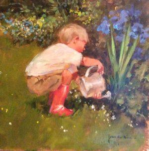 John Haskins The Gardener's Assistant english garden art for sale traditional framed child summer