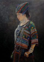 Shen Ming Cun Modern Tradition Miao Finery classic oil portrait for sale