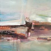 Celia Wilkinson Coastal Walk abstract pastel landscape for sale