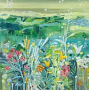 Natalie Rymer Morning Mist colourful floral green landscape for sale