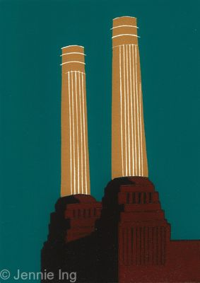 Jennie Ing Battersea Chimneys Sinopia London Art for sale